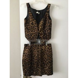 Rare vintage leopard co-ord skirt and corset set